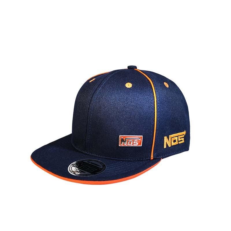 b9f9f64a1d Boné aba reta azul marinho e laranja NOS BRASIL